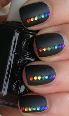 Matte Black w Rainbow Bling // Love it! *TRYING NEXT!!! Eek!