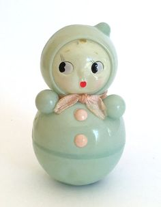 vintage celluloid rattle roly-poly aqua by GroveStreetDollShop