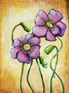 NEW Purple Poppies 8 x 10 mixed media print by June Pfaff Daley.