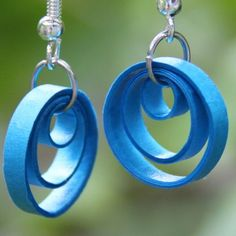 Turquoise Circle Earrings Niobium Three Hoops Paper Quilled Eco Friendly Artisan Jewelry hypoallergenic