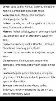 Eevee evolution drinks #pokemon ☺️