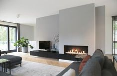 Future Fire Gray color could be used for entrance hall or right wi … – Kamin Wohnzimmer Modern - Living Room Home Fireplace, Modern Fireplace, Living Room With Fireplace, Fireplace Design, Fireplace Ideas, Fireplace Mantels, Living Room Tv, Living Room Colors, Home And Living
