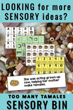 Too Many Tamales Activities - Add sensory play to literacy centers! These task cards and themed sensory bin are aligned with the holiday read aloud Too Many Tamales by Gary Soto. Easy-prep tasks include mentor sentence, sight words, alphabet cards, and story vocabulary. Extend learnin