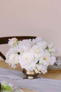 Something Borrowed Blooms Audrey Collection Peonies Centerpiece, Low Centerpieces, Peony Rose, Something Borrowed, White Peonies, Ceremony Decorations, Silk Flowers, Ranunculus, Hydrangeas