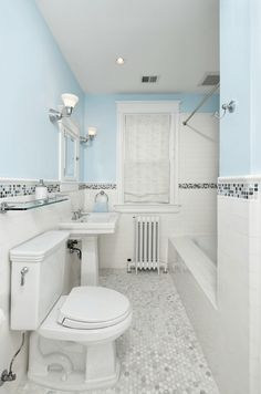 Colored Border Connects Paint And Wainscoting - A colored mosaic border spices up a classic design