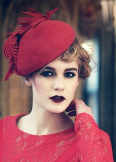 Jane Taylor Millinery, Cherry, A/W 2013 - Velour felt cocktail hat with felt feather detail. #passion4hats