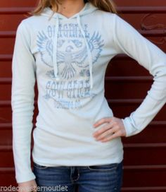 Sky Blue Southwestern Tribal Eagle Cowgirl Thermal Hoodie Original Cowgirl Comp