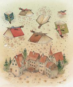 Flying Books Painting  - Flying Books Fine Art Print