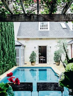 Swimming pool goals: inspiration for at-home summer relaxation: A pool in the courtyard of Collette Dinnigan's former home in Sydney's Eastern suburbs.