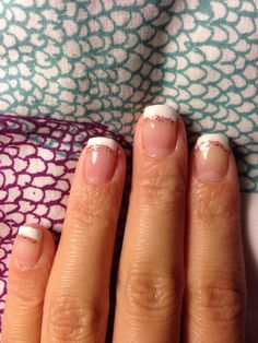 French nails with glitter lines. Nail art for short nails.