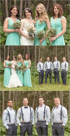 Matt + Shelby's Elkwater Wedding | Cypress Hills Wedding Photographer. Wedding party photos with the bridesmaids in teal green floor length dresses and the groomsmen in bow ties and suspenders. Taken by Woods Photography in Elkwater, AB (CANADA). #cypresshills #bridesmaids #groomsmen