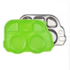 Green Stainless Steel School Bus Dish - Kid-friendly fun shape to make mealtime fun even for the picky eaters - Five separate compartments – Perfect for introducing the five food groups! - Divided compartments prevents food from sliding and mixing - Sectional lid prevents food from sliding and mixing - Sectional lids are designed to stack easily - Nontoxic, worry-free mealtime solution -  Made with highest quality food grade type 304 stainless steel