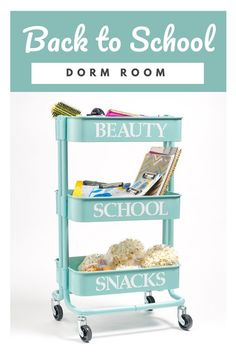 A personalized trolley cart is a great way to maximize space in your dorm room decor.