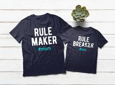 Mother Son Matching Shirts Mommy and Me Outfit Boy Rule Maker Rule Breaker Gift Mother Son Matching Outfits, Mom And Son Outfits, Country Girls Outfits, Family Outfits, Baby Outfits, Couple Shirts, Family Shirts, Boys Shirts, Mommy And Son