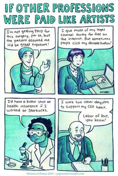 """If other professions were paid like artists.  I hate that """"great exposure"""" bullshit people try to pull."""