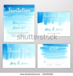 Set of Wedding Invitation with watercolor background - stock vector
