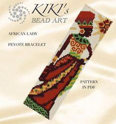 Pattern peyote bracelet Africa African Lady peyote Loom Bracelet Patterns, Peyote Patterns, Beading Patterns Free, Bead Loom Bracelets, Loom Patterns, Beading Tutorials, Peyote Beading, Cross Stitch Bookmarks, Bead Jewelry