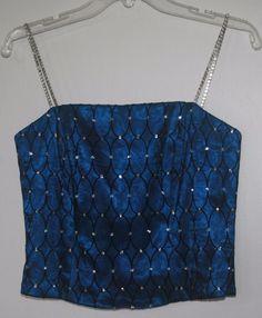 Ignite Evenings Carol Lin Halo Net Bustier Size 8 Blue Stone Embellished  #Clubwear Women's Fashion Style 2016