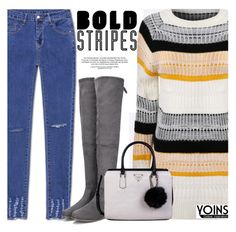 """Big, Bold Stripes With Yoins"" by fattie-zara ❤ liked on Polyvore featuring GUESS, BoldStripes, yoins, yoinscollection and loveyoins"