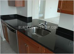 Honed absolute black granite countertops Knockoff for soapstone