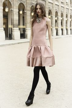 Black tights with stacked black heel, combined with sleeveless dress and chunky necklace - cute! {Dior pre-fall}
