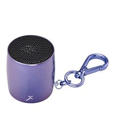 MixBin Atomic Berry Gelato Key Chain Bluetooth Speaker | zulily  . $9.99 $35.00 Product Description:  Small yet mighty, this sleek Bluetooth speaker clips to your keys for a quick and portable way to enjoy tunes on the go via a cord-free connection.      1.5'' H x 1.25'' diameter     Bluetooth range: 30'     20Hz to 20kHZ     500 mA     2 W     Charge time: 4 hours     Playback per charge: 2.5 hours     Wireless Bluetooth     Imported