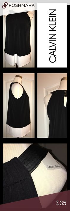NEW Calvin Klein Black & White Top Faux leather trim and gathers at neckline.  Great dressed up with a skirt or down with cigarette pants! Calvin Klein Tops