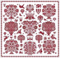 Vierlanden Garden - Marquoir rouge au point de croix de Clorami Designs. www.clorami-designs.be