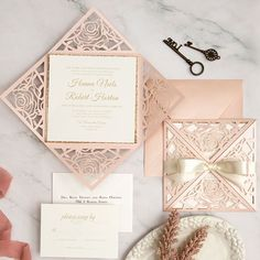 romantic blush rose pattern laser cut wedding invitations with ribbons EWWS293 as low as $2.39 Laser Cut Invitation, Laser Cut Wedding Invitations, Wedding Programs, Bridal Shower Invitations, Wedding Cards, Elegant Wedding Colors, August Wedding, Blush Pink Weddings, Reception Card