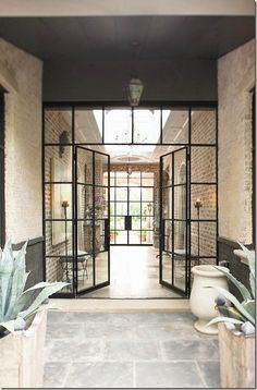 black steel & glass hall doors