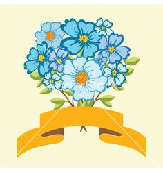 Bouquet of blue flowers vector by Yulia337 on VectorStock®
