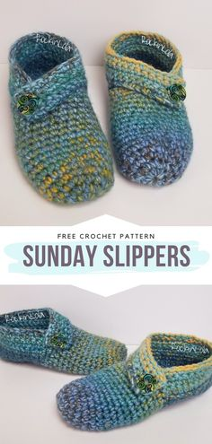Sunday Slippers Free Crochet Pattern Warm feet are the basis of good health no matter the season. This pattern will help you with that! These amazing crocheted slippers have leather soles to… Crochet Patron, Knit Or Crochet, Crochet Crafts, Crochet Baby, Crochet Sole, Doilies Crochet, Crotchet, Crochet Projects, Diy Crafts
