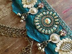 Indian Fusion Belly Dance Belt in Teal and Gold by PoisonBabe