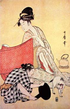 Women making dresses - Kitagawa Utamaro Style: Ukiyo-e Series: Women making dresses Genre: genre painting