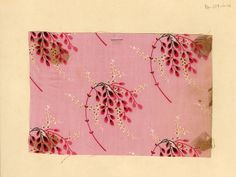 Pink branch print on cotton. Late 19th century.
