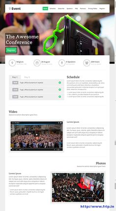 Are you organizing any #event, conference, concert or exhibitions and looking for some event #landingpage templates to highlight the information related to your event? Then, these event landing pages are built only for you. These events templates are clean, modern and responsive html landing page template that is perfectly designed for any events, concerts, exhibitions and conferences. Link :http://www.frip.in/event-landing-page-templates/