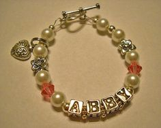 Glass Pearl and Swarovski Crystal Name Bracelet by DaziesHead2Toe, $16.99
