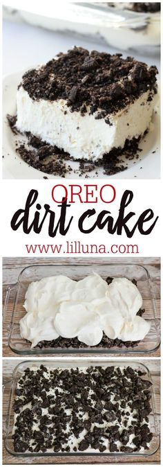 Oreo Dirt Cake has layers of white chocolate pudding, cream cheese, whipped cream, Crushed Oreos, and more. This delicious and addicting dessert is cool, creamy, and perfect for Oreo lovers. #dirtcake #dirtcakerecipe #cake #cakerecipe #dessert #dessertrecipe #summerdessert Brownie Desserts, Easy Desserts, Delicious Desserts, Yummy Food, Cool Whip Desserts, Desserts With Oreos, Recipes With Oreos, Recipes With Cool Whip, White Desserts
