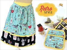 Retro Half Apron with Matching Hot Pads | Sew4Home