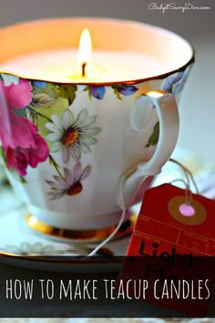 The making of the teacup candle can be inexpensive and very simple. You can order a candle making kit from amazon, have a glue gun ready, a tag or any other extras you like.