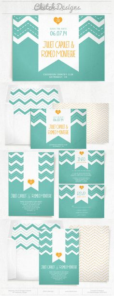 Chic Teal and orange chevron wedding invitation and save the date template design. Patterns and envelope liners included. $9.00 - https://www.etsy.com/listing/178613370/diy-printable-word-template-2014-modern