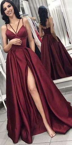 A-line Long Prom Dress with Slit,Fashion Winter Formal Dress, Bridesmaid Dress Prom Dresses With Pockets, Open Back Prom Dresses, Simple Prom Dress, Prom Dresses For Teens, Simple Dresses, Cheap Dresses, Casual Dresses, Summer Dresses, Sexy Dresses