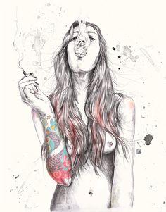 Die norwegische Illustratorin Esra Røise habe ich euch hier schon mal vorgestellt. Da ging es um einen Werbespot, an dem sie mitgearbeitet hat. Hier nun einige sehr gelungene Arbeiten von ihr, die in eine etwas andere Richtung gehen. Sie zeigen diesmal kei