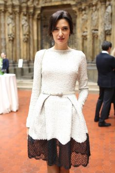 white tweed & black lace trim