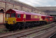 EWS 66001 at Crewe with 60016 at the rear