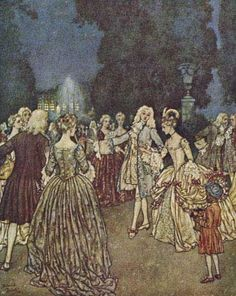 """The King's son led her through the gardens, where the guests drew apart and gazed in wonder at her loveliness.""    These illustrations came from:    Quiller-Couch, Sir Arthur. The Sleeping Beauty and Other Tales From the Old French. Edmund Dulac, illustrator. New York: Hodder & Stoughton, 1910."