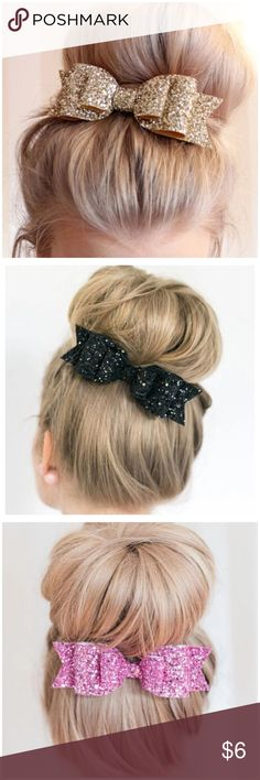 "HP Glitter Fabric Bow Hair Barrette Glitter Fabric Bow Hair Barrette --- French Barrette back --- price is per barrette --- 4.5"" x 1.5"" Boutique Accessories Hair Accessories"