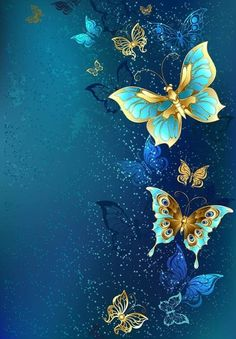 Illustration of Flying gold, jewelry butterfly on blue textural background. vector art, clipart and stock vectors. Butterfly Painting, Butterfly Wallpaper, Blue Butterfly, Cellphone Wallpaper, Iphone Wallpaper, Blue Backgrounds, Wallpaper Backgrounds, Butterfly Pictures, Art Africain
