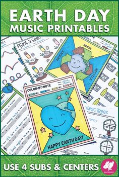 This fun set of Earth Day music activities, worksheets, printables, Music Sub Plans, Music Lesson Plans, Music Lessons, Teaching Orchestra, Teaching Music, Elementary Music, Elementary Education, Upper Elementary, Music Activities