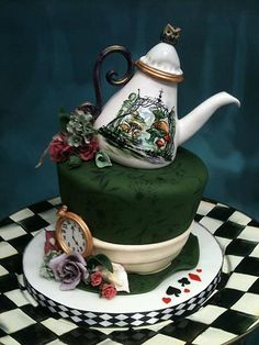 https://flic.kr/p/bTiCWa | teapot | Mad Hatter cake.  Hand painted gumpaste and fondant.  Painting inspired by another Alice in Wonderland cake.  I'm not sure who made it though.  Cake plate by MacKenzie-Childs.